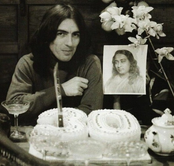 George Harrison Celebrating His 30th Birthday With Photo Of Paramahansa Yogananda