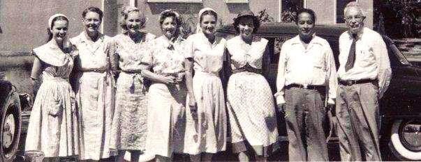 from left Mrinalini Mata, Mrs. Mildred Lewis, Brenda Lewis-Rosser, Unknown, Meera Mata, Daya Mata, Paramahansa Yogananda, Dr. Minot W. Lewis