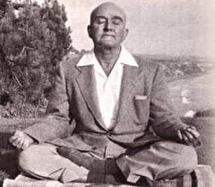 rajarsi meditating in suit